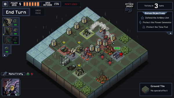 Missions take place on an 8x8 grid as your mechs scramble to protect cities.