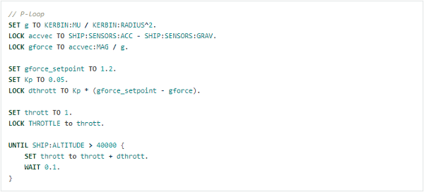 An example of KSP kOS code. This example is from a PID controller tutorial in the kOS documentation.