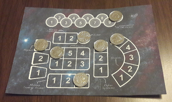 Scaled-up board in use with 5p coins as markers.