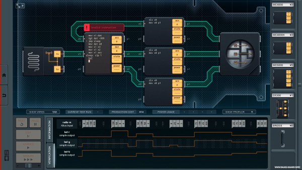 An example of SHENZHEN I/O gameplay, showing the combination of electronics and code.