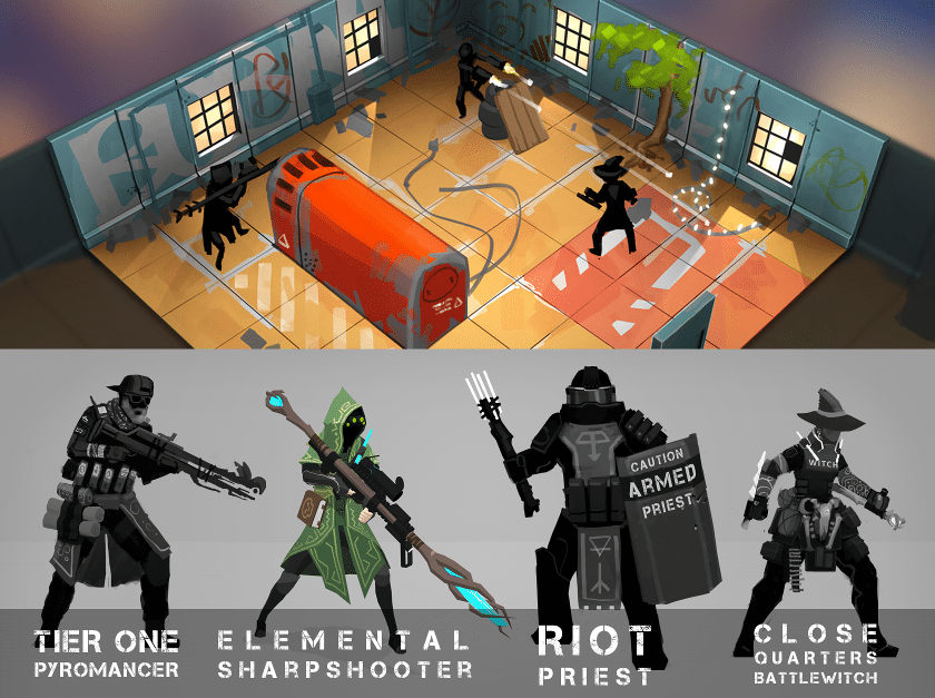This image, from the Tactical Breach Wizards pitch page, shows the game concept.