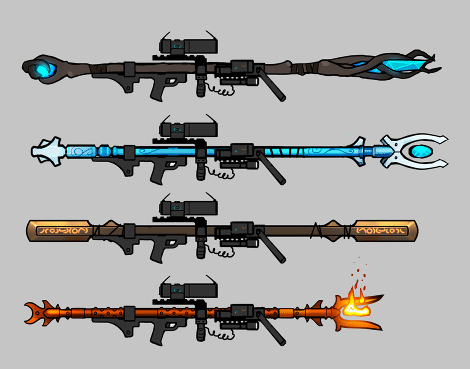 Staff concepts showing how the magical weapons reflect modern weapon designs.